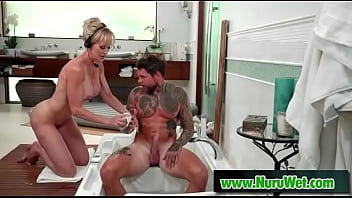 Masseuse with huge boobs prepares her client for massage - Brandi Love, Dean Van Damme