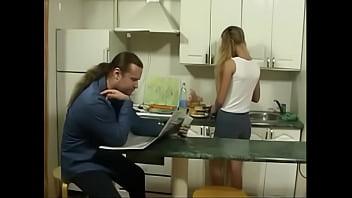 Britishteen daughter seduce father in kitchen for sex