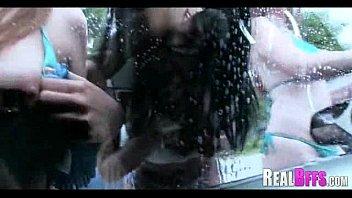 College girls carwash orgy 076