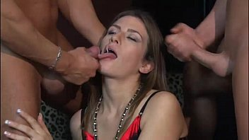 Sexy slut banged by two men in a double penetration