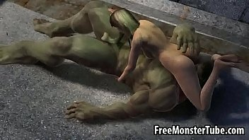 Hot 3D babe having a 69 with The Incredible Hulk-high 2