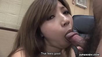 Slutty brunette Asian babe sucks and toy fucks