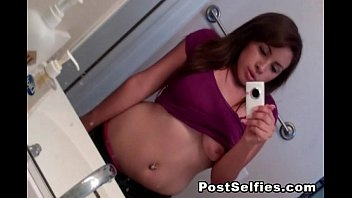 Busty Teen Hottie Shows Her Big Tits While Taking Selfie