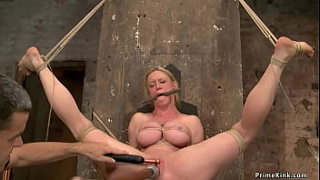 Busty MILF hogtied and toyed