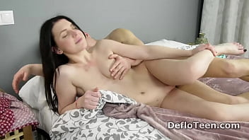 Horny guy penetrates Sasha Mamaeva and pops her virgin pussy