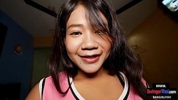 Amateur Thai teen cutie enjoys sex with a big cock white foreigner