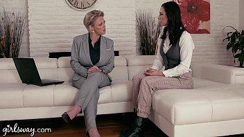 Girlsway Mature Lesbian Gifts Aidra Fox A Power Suit