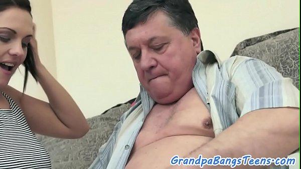 European babe spoon fucked by grandpa