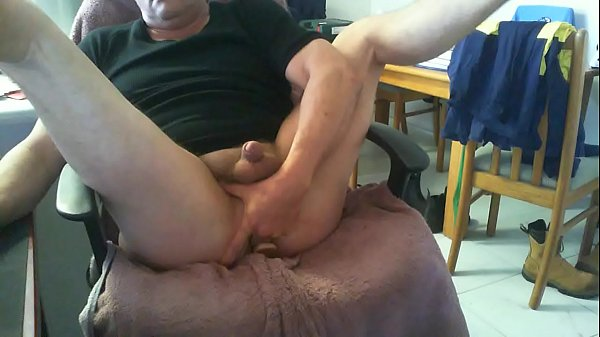 2 Fingers forced into Buttplugged Hole Stretched Open