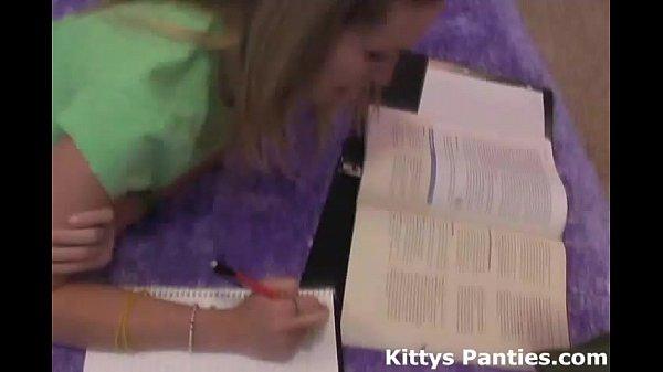 18 year old teen Kitty doing her homework