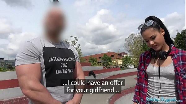 Public Agent Apolonia Lapiedra Fucked on Stairs as Boyfriend Waits