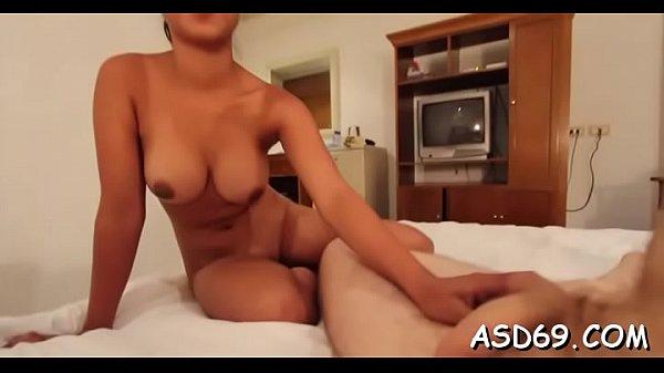 Asian gal attacks her guy's wang