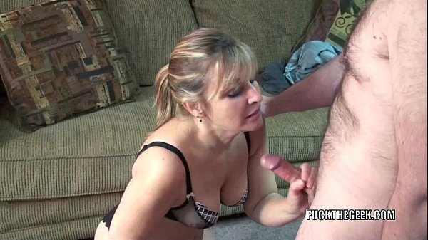 Mature swinger Liisa shows her big tits while sucking dick  thumbnail