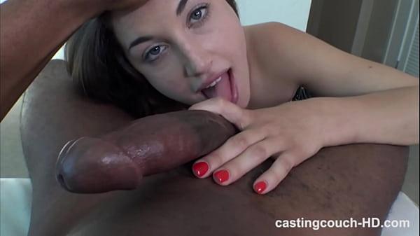 Unusually nasty club girl deepthroats and gags on giant black dick