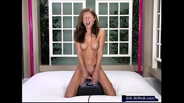 hot brunette on a sybian
