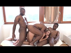Teen Nympho Alexis Crystal gets Blacked by 3 bu...