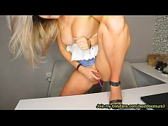 Beautiful office girl masturbates near her coll...