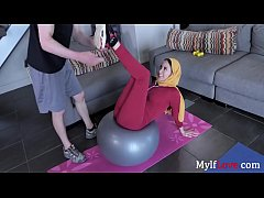 Busty Brunette In Hijab Fucks Her Trainer- Anis...