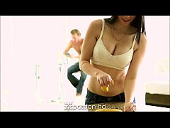 Passion-HD Brunette wants cream for her coffee ...
