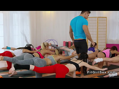 Coach bangs two hot fitness babes