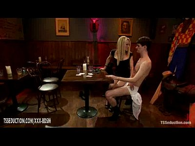 Blonde ladyboy Paris gets anal fucking in the coffee bar