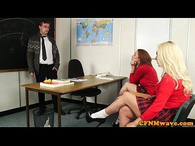 Naughty CFNM schoolgirls tugging uncut cock