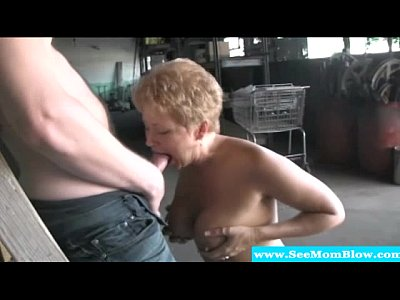 Blonde mature milf feasting on hard cock