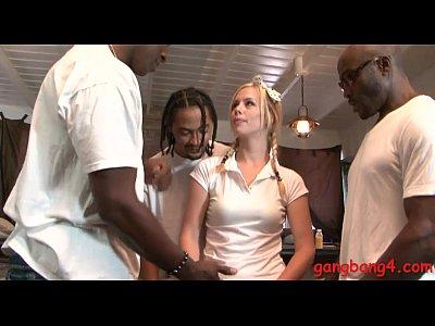 Slutty blonde babe banged by black men