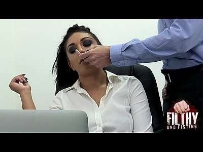 This secretary gets boxed and fisted