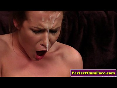 Facialized babe climaxing with dripping cum