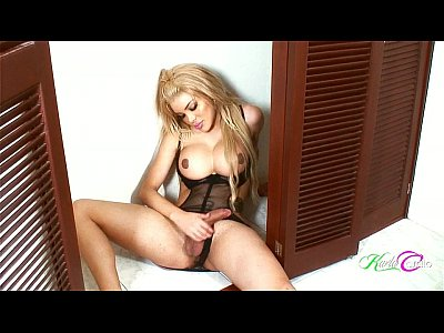 Latin shemale with nice tits posing and stroking her tool