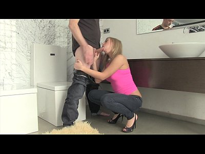 Blonde russian girl fucking on the bathroom