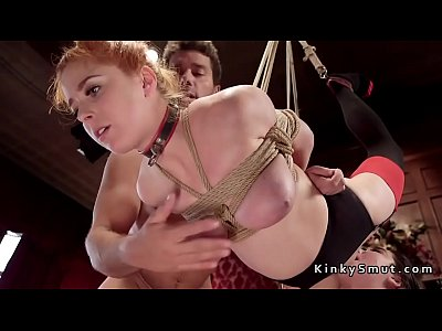 Hot ass redhead slave gets anal threesome