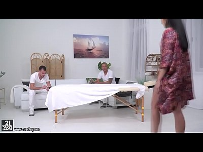 Anal penetration on the massage table