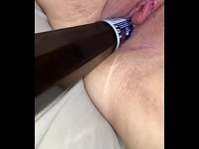 Wife bottle insertion swollen clit and orgasm