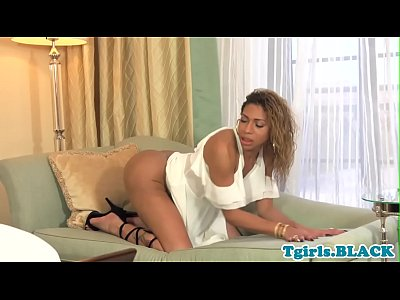 Solo ebony tgirl with big ass jerking off bbc