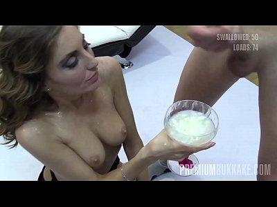 Premium Bukkake - Nona swallows 93 huge mouthful cum loads