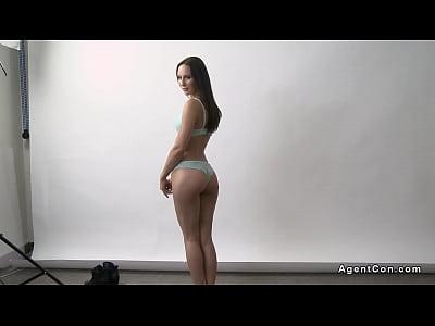 Tight brunette model gets ass cumshot