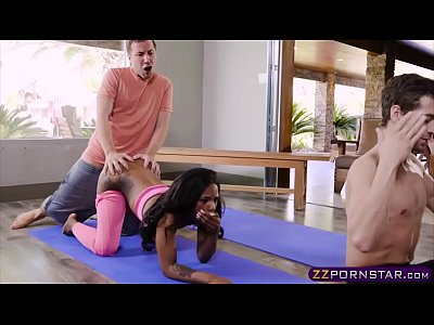 Ebony beauty double penetrated by big cocks at yoga class