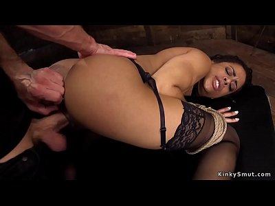 Ebony in bondage anal fists herself