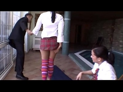 Two young schoolgirls blindfolded and banged by Rocco Siffredi