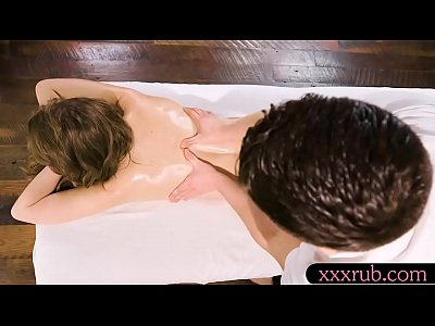 Beautiful woman sucks off and hammered on massage table