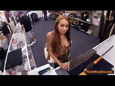 Crazy hot latina chick sucks and fucks pawnshop owner