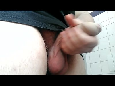 Chubby guy masturbate at the washroom
