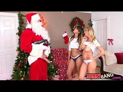 Teen and stepmom 3way fucking with Santa near the xmas tree