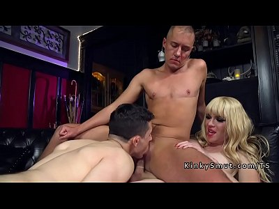 Tranny anal fucks ts man and other man