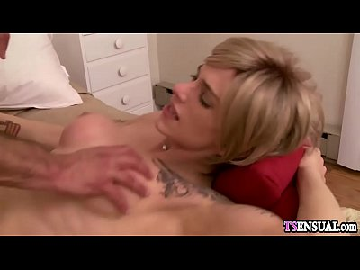 Busty secretary shemale anal fucked by a bosses big cock