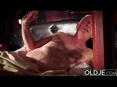 Grandpa fucks his young wife licks her pussy and cums in her pretty mouth
