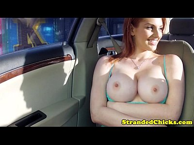 Busty hitch hiking hottie blows driver