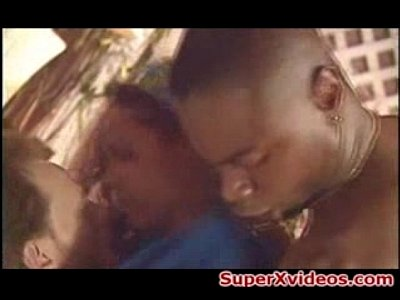 Double penetration with hot black girl